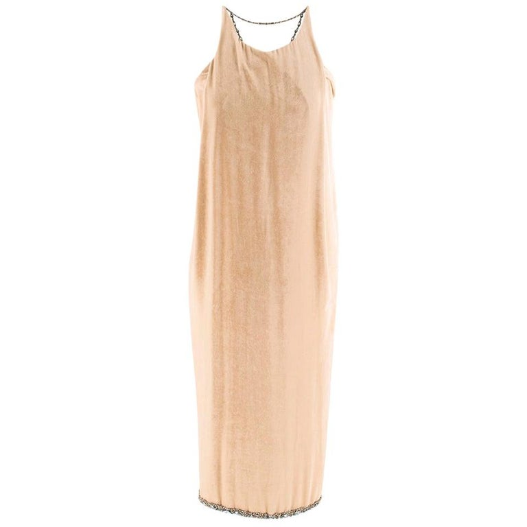 Bottega Veneta Beige Velvet Chain Draped Low Back Embellished Dress IT 42 For Sale