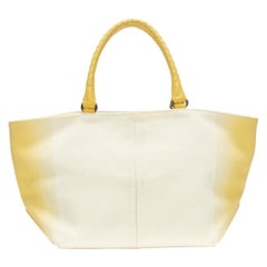 BOTTEGA VENETA beige yellow ombre dye intrecciato woven leather handle tote bag