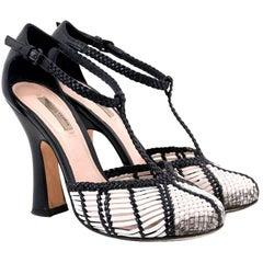 Bottega Veneta Black and White Woven Sandals 35.5