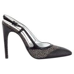 BOTTEGA VENETA black beige canvas Slingbacks Pumps Shoes 36.5