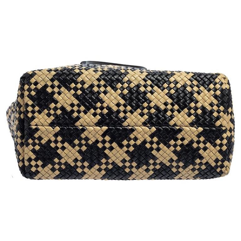 Bottega Veneta Black/Beige Intrecciato Leather Limited Edition 234/500 Cabat Tot 8