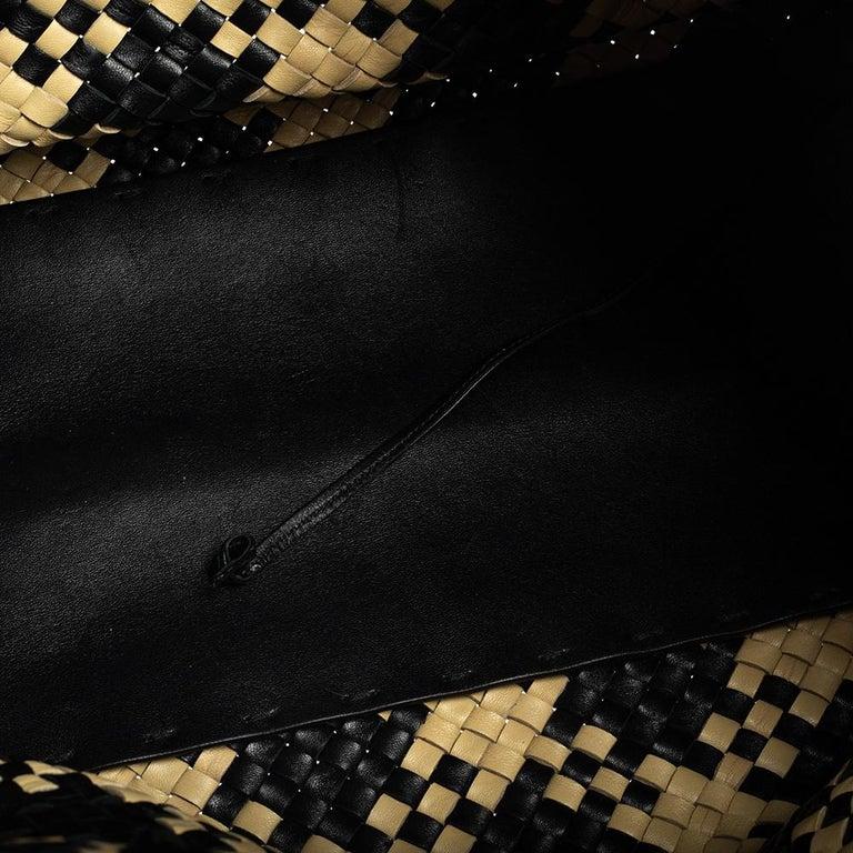 Bottega Veneta Black/Beige Intrecciato Leather Limited Edition 234/500 Cabat Tot 3