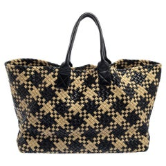 Bottega Veneta Black/Beige Intrecciato Leather Limited Edition 234/500 Cabat Tot