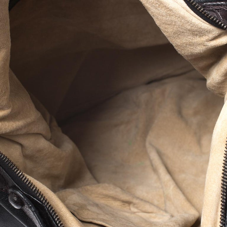 Bottega Veneta Black/Brown Leather and Croc Hobo For Sale 6