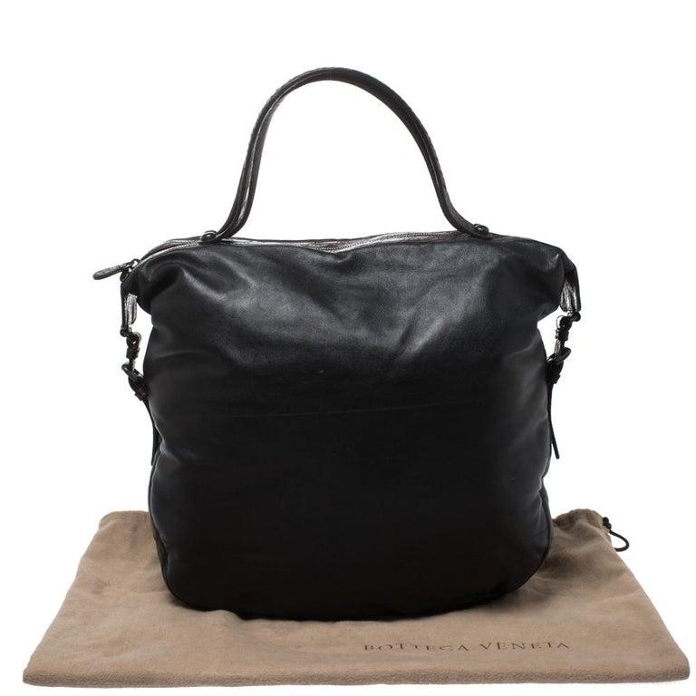 Bottega Veneta Black/Brown Leather and Croc Hobo For Sale 8