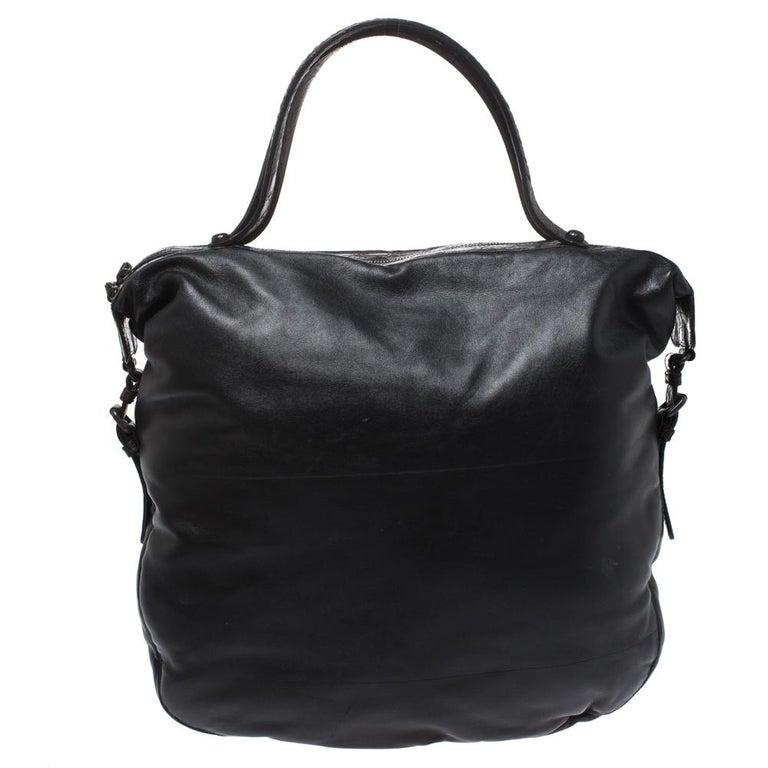 Bottega Veneta Black/Brown Leather and Croc Hobo In Good Condition For Sale In Dubai, Al Qouz 2