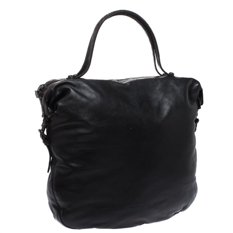 Women's Bottega Veneta Black/Brown Leather and Croc Hobo For Sale