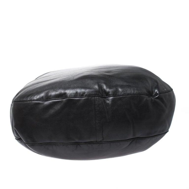 Bottega Veneta Black/Brown Leather and Croc Hobo For Sale 1
