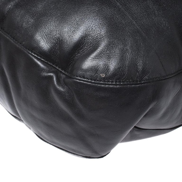 Bottega Veneta Black/Brown Leather and Croc Hobo For Sale 2