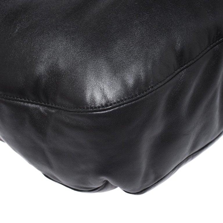 Bottega Veneta Black/Brown Leather and Croc Hobo For Sale 3