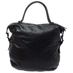 Bottega Veneta Black/Brown Leather and Croc Hobo