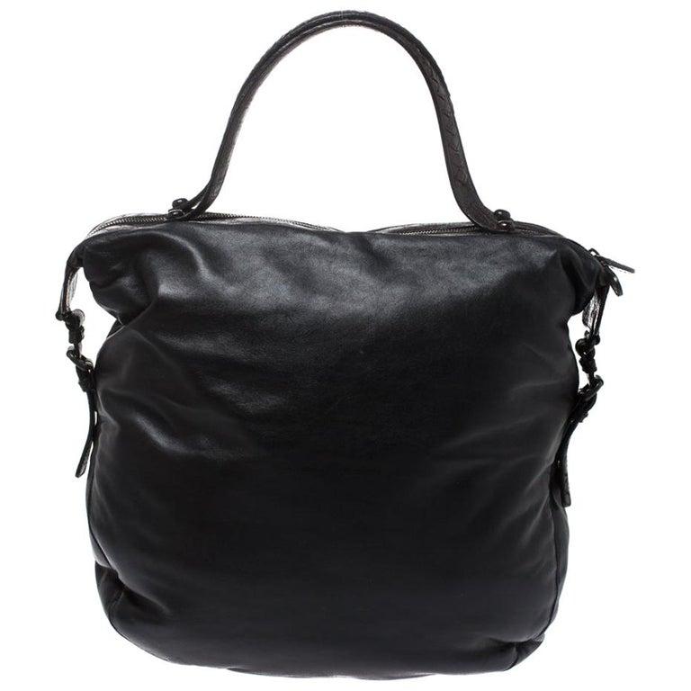 Bottega Veneta Black/Brown Leather and Croc Hobo For Sale