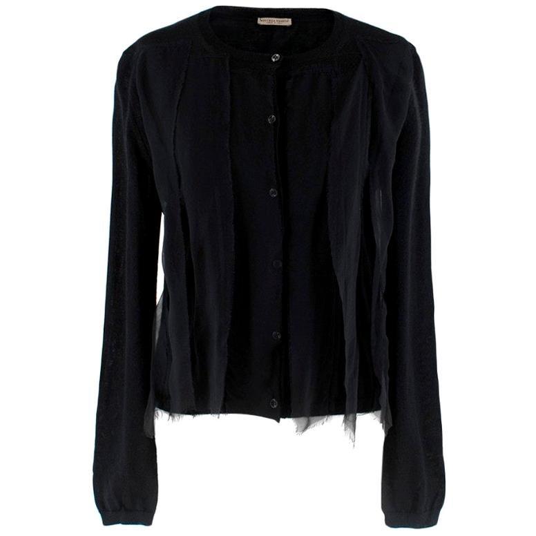Bottega Veneta Black Cashmere Lace Trim Cardigan - Size US 4