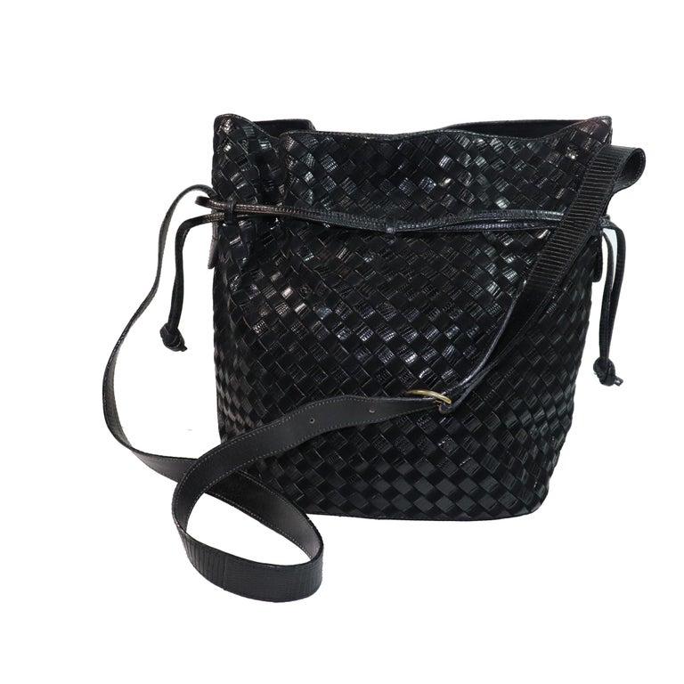 Bottega Veneta Black Classic Woven Drawstring Bag  For Sale 1