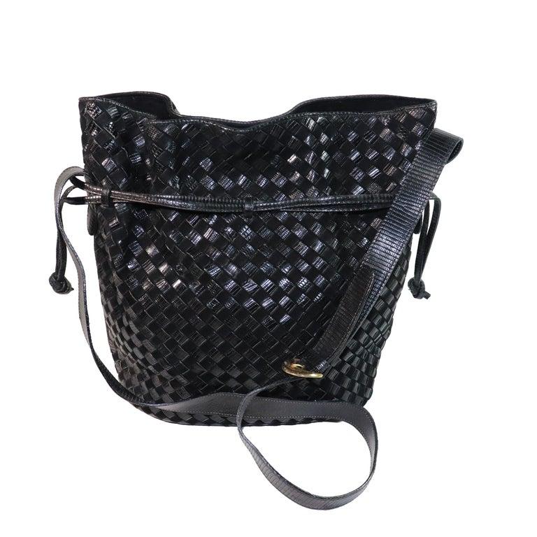 Bottega Veneta Black Classic Woven Drawstring Bag  For Sale 3