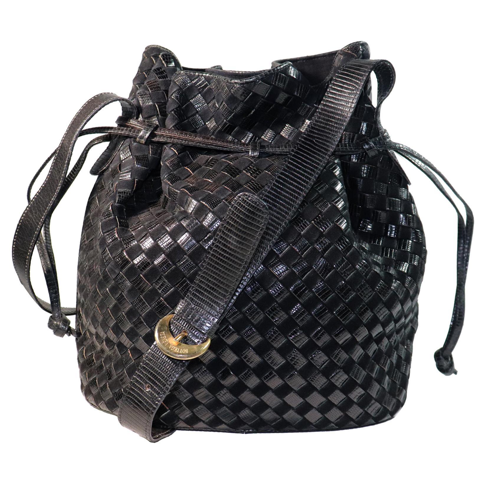 Bottega Veneta Black Classic Woven Drawstring Bag