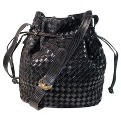 Bottega Veneta Black Classic Woven Drawstring Bag