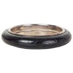 BOTTEGA VENETA black CROCODILE & Sterling Silver Bangle Bracelet