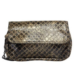 BOTTEGA VENETA black gold printed intrecciato butterfly crossbody chain mini bag