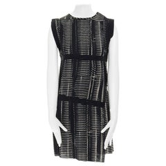 BOTTEGA VENETA black grey geometric print distressed grosgrain trimmed dress XS