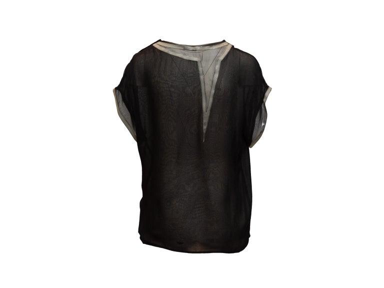 Bottega Veneta Black & Grey Silk Short Sleeve Top For Sale 1