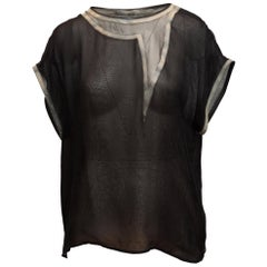 Bottega Veneta Black & Grey Silk Short Sleeve Top