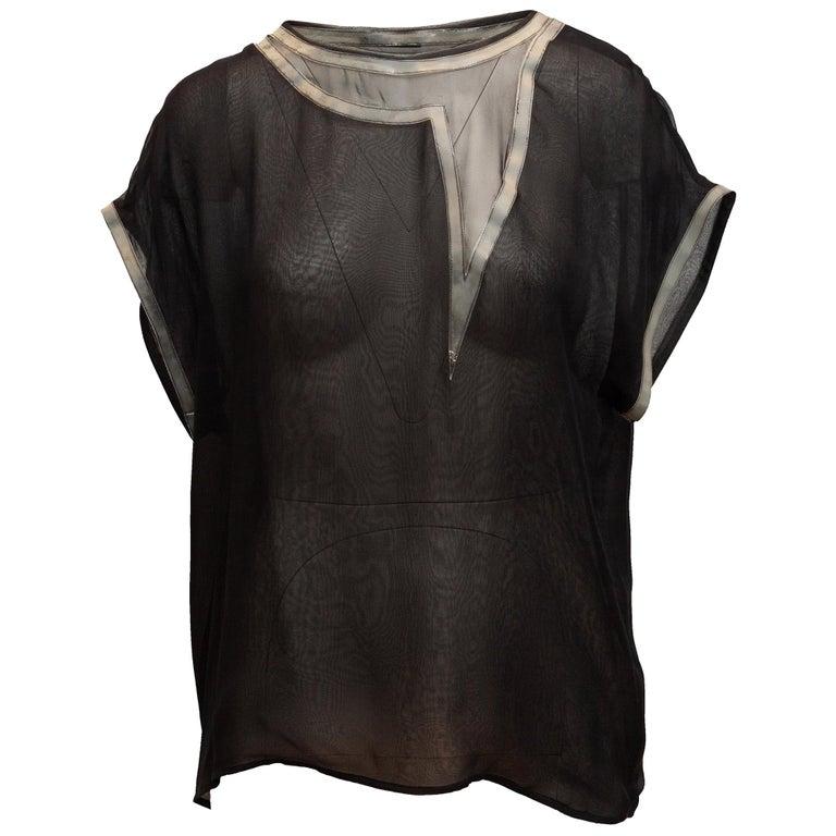 Bottega Veneta Black & Grey Silk Short Sleeve Top For Sale