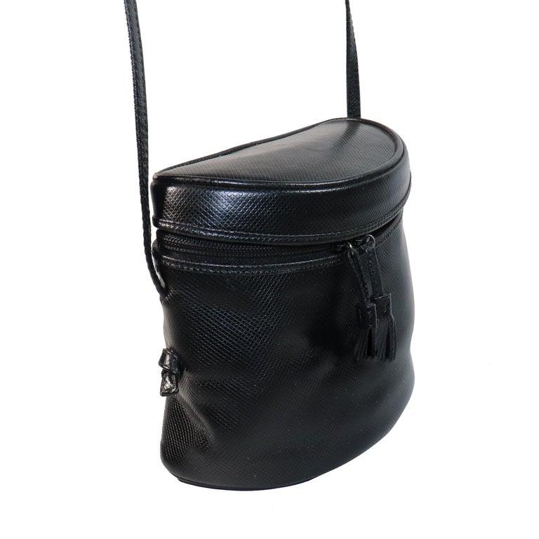 Bottega Veneta Black Half Circle, Binocular Style Crossbody Handbag with Tassels   Measurements:  Height - 6.5 inches   Width - 10 inches   Height with Straps - 31 inches