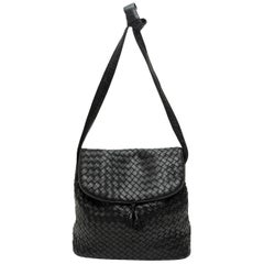 Bottega Veneta Black Intrecciatio Leather Shoulder Bag