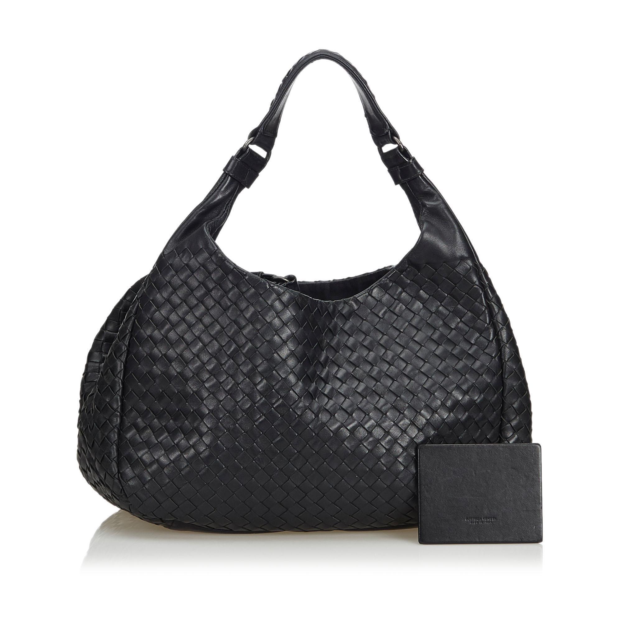 42669048f7a6 Bottega Veneta Black Intrecciato Campana Hobo Bag at 1stdibs