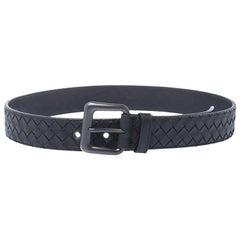 Bottega Veneta Black Intrecciato Leather Belt 85CM