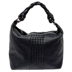 Bottega Veneta Black Intrecciato Leather Braided Handle Hobo