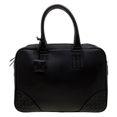 Bottega Veneta Black Intrecciato Leather Briefcase