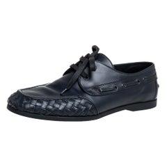Bottega Veneta Black Intrecciato Leather Derby Size 42.5