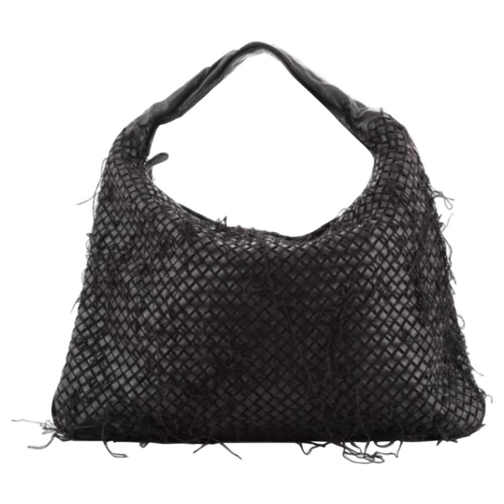 Bottega Veneta Black Intrecciato Leather Distressed Netted Hobo Bag