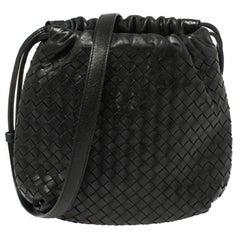 Bottega Veneta Black Intrecciato Leather Drawstring Shoulder Bag