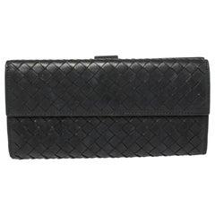 Bottega Veneta Black Intrecciato Leather Flap Continental Wallet