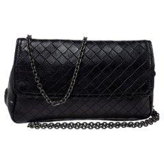 Bottega Veneta Black Intrecciato Leather Flap Zip Detail Crossbody Bag