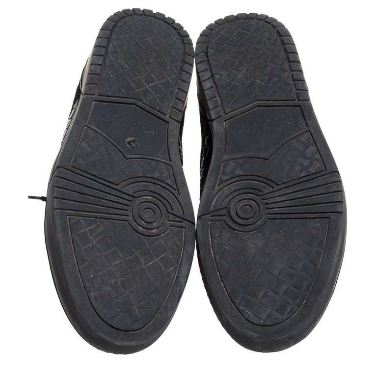 Men's Bottega Veneta Black Intrecciato Leather High Top Lace Up Sneaker Size 43.5 For Sale