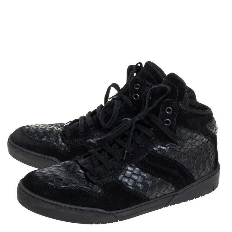 Bottega Veneta Black Intrecciato Leather High Top Lace Up Sneaker Size 43.5 For Sale 3