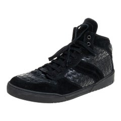 Bottega Veneta Black Intrecciato Leather High Top Lace Up Sneaker Size 43.5