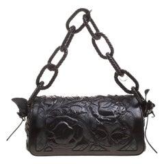 Bottega Veneta Black Intrecciato Leather Limited Edition Floral Applique Sienna
