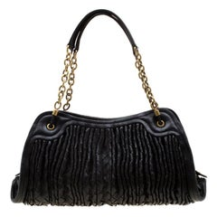 Bottega Veneta Black Intrecciato Leather Satchel