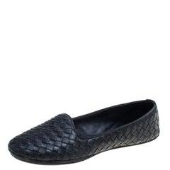 Bottega Veneta Black Intrecciato Leather Smoking Slippers Size 38.5