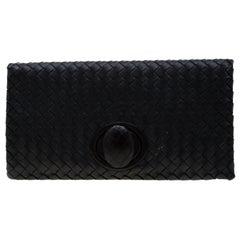 Bottega Veneta Black Intrecciato Leather Twist Lock Clutch