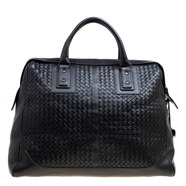 a34e967c95 Bottega Veneta Black Intrecciato Leather Weekender Bag For Sale at 1stdibs