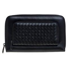 Bottega Veneta Black Intrecciato Leather Zip Around Travel Organizer