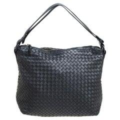 Bottega Veneta Black Intrecciato Leather Zipped Hobo