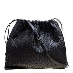 Bottega Veneta Black Intrecciato Nappa Leather Drawstring Shoulder Bag