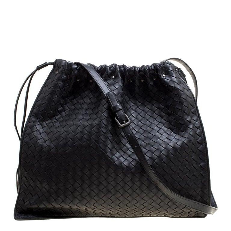 cee8364b5c23 Bottega Veneta Black Intrecciato Nappa Leather Drawstring Shoulder Bag For  Sale
